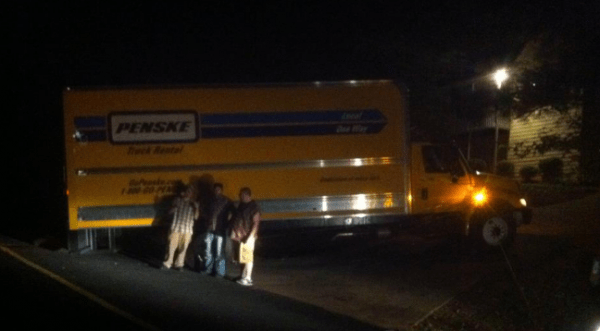 penske moving truck got stuck
